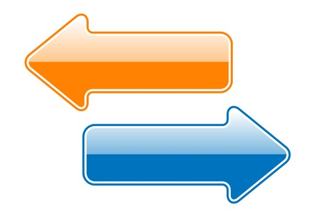 different courses: Two simple arrows isolated on the white