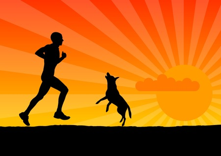 joggers: black silhouette of man with dog