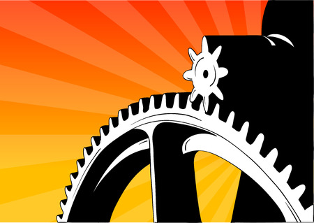 Cogwheel on the orange background. Stock Vector - 6422985