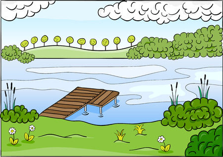 Cartoon summer landscape. Vector
