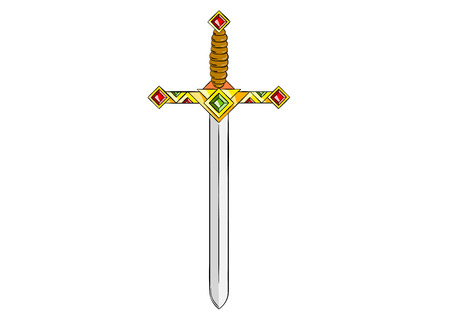 cartoon knight: Ancient gold sword isolated on the white.