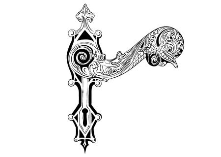 oude sleutel: Decoratieve deur greep op de witte