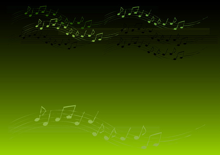 Music green background with notes Stock Vector - 6758645