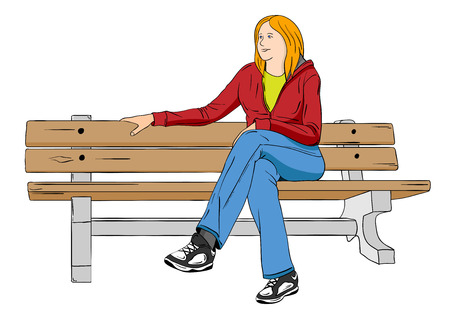 Girl sitting on the seat in the park Vector