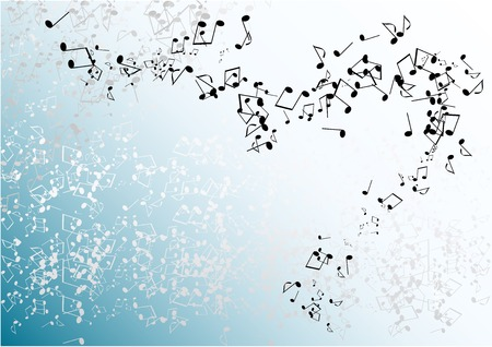 blue music background with notes Stock Vector - 6758656