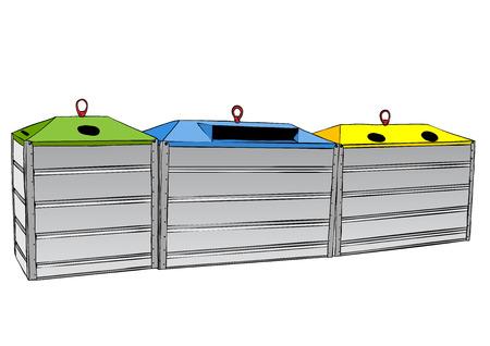 biological waste: Tres reciclan envases sobre el blanco.  Vectores
