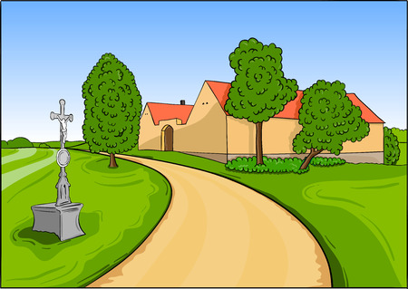 House in the green landscape Vector