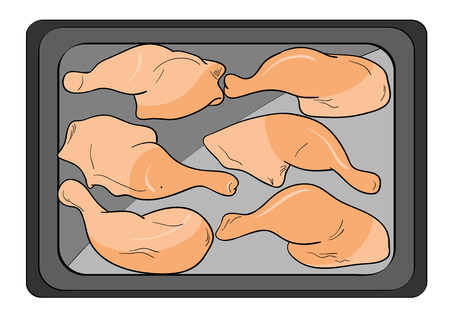 Food chicken on the pan. Vector