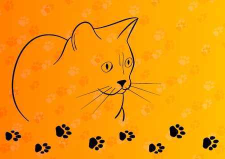 outline drawing: Black silhouette of cat on the orange