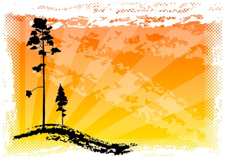 black silhouette of two trees Vector