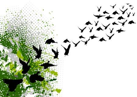 migraci�n: volando de siluetas negras de aves