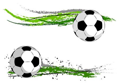 grunge football: Football on the green abstract Illustration