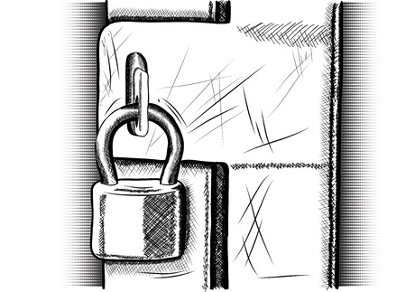 Drawing padlock isolated on the white Vector