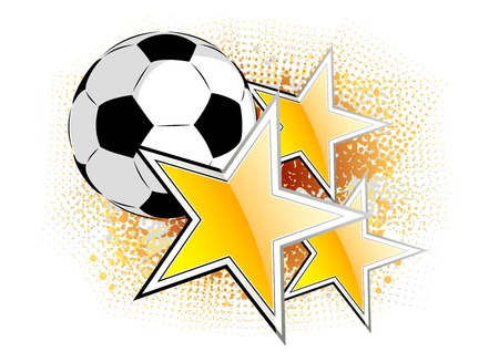 famous star: Soccer ball with golden stars
