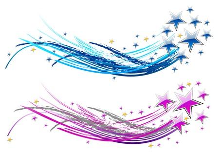 estrellas moradas: dos cometas abstractos con estrellas