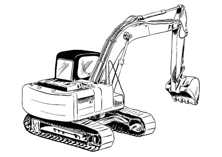 construction machinery: black sketch of big excavator