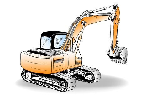 Sketch of excavator on the white Vector