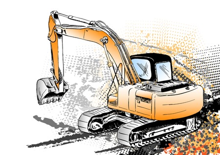 big excavator on the background Stock Vector - 7464323
