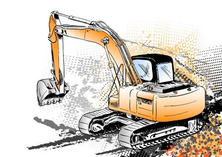 bruchi: grande escavatore sullo sfondo  Vettoriali