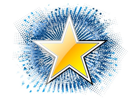 gold star on the blue background Vector