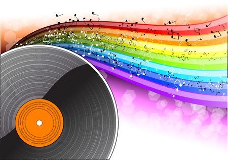 Music background with vinyl desk