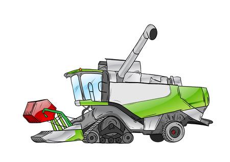 cosechadora: cosechadora verde aislado en el blanco  Vectores