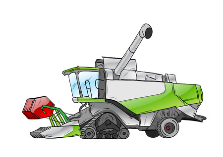 agricultural equipment: green harvester isolated on the white