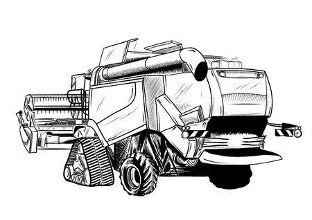 agricultural equipment: black sketch of big harvester