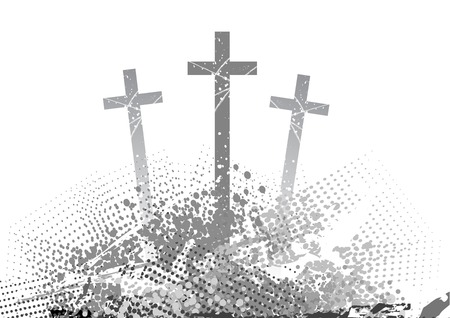golgotha: abstract golgotha with three cross