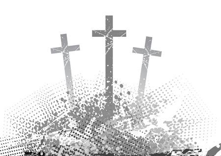 simbolos religiosos: golgotha abstracto con tres Cruz  Vectores