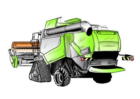 cosechadora: boceto color de gran cosechadora