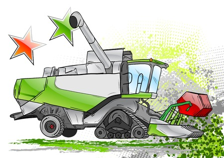 combinar: cosechadora verde en el fondo