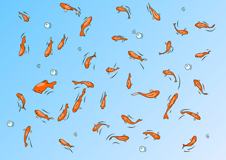 koi fish pond: red fishes on the blue