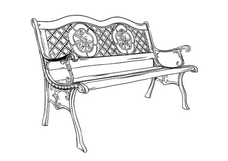 settee: park bench isolated on the white