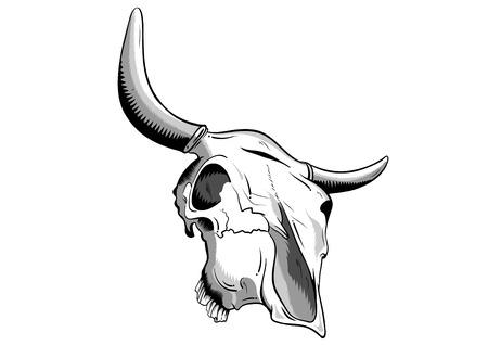 skull tattoo: dierlijke schedel geïsoleerd op de witte