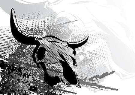 carcasse: cr�ne animale sur le fond sombre Illustration