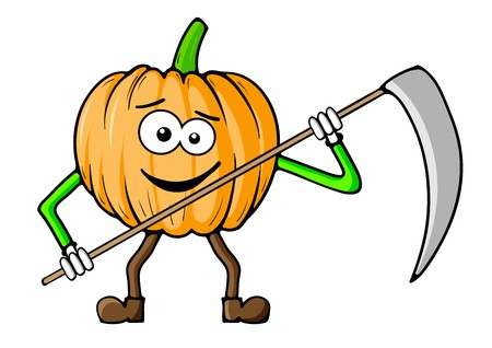 Pumpkin reaper isolated on the white Vector
