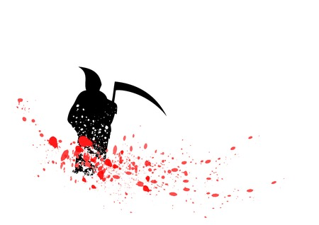 grim: silhouette of reaper isolated on the white