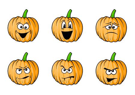 calabaza caricatura: Conjunto de calabazas de caras de halloween