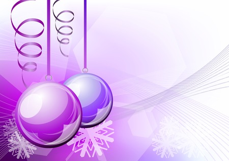 purple christmas balls on the background Vector