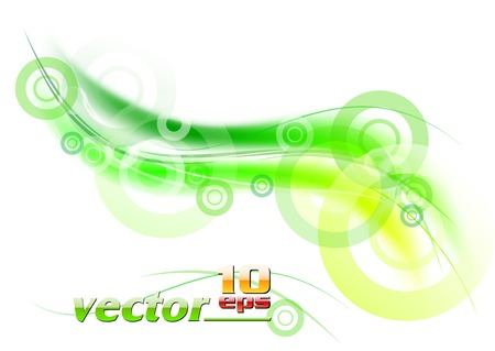 green wave background with circles Stock Vector - 7905142