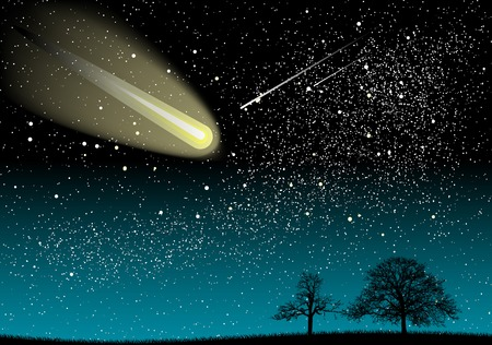 meteor: schwarze Landschaft unter das Universum