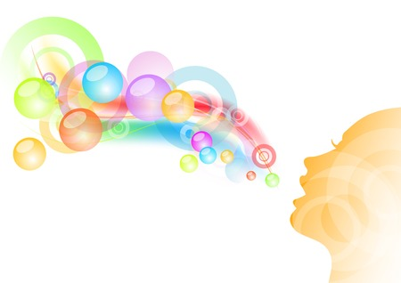 girl and bubble gum background Vector