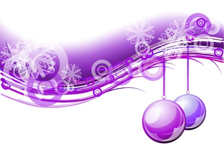 purple christmas background with balls Vector