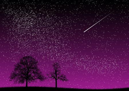 cosmos: black and purple dark night Illustration
