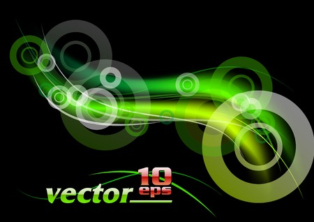 green rays on the black background Vector
