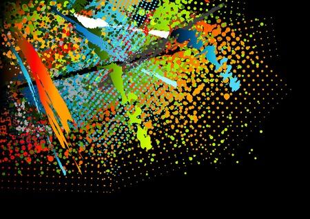 splash paint: contexte abstrait sur le noir