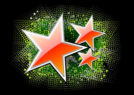 red stars on the black background Stock Vector - 8400273