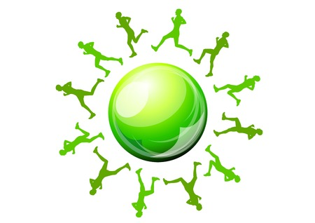 green silhouettes of runners around ball Vector