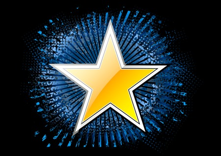 gold star on the black background Vector